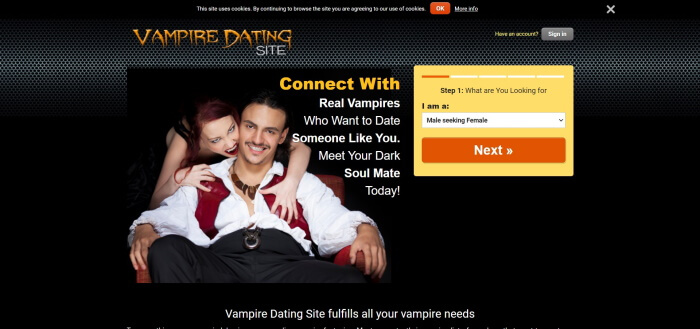 vampire dating site review